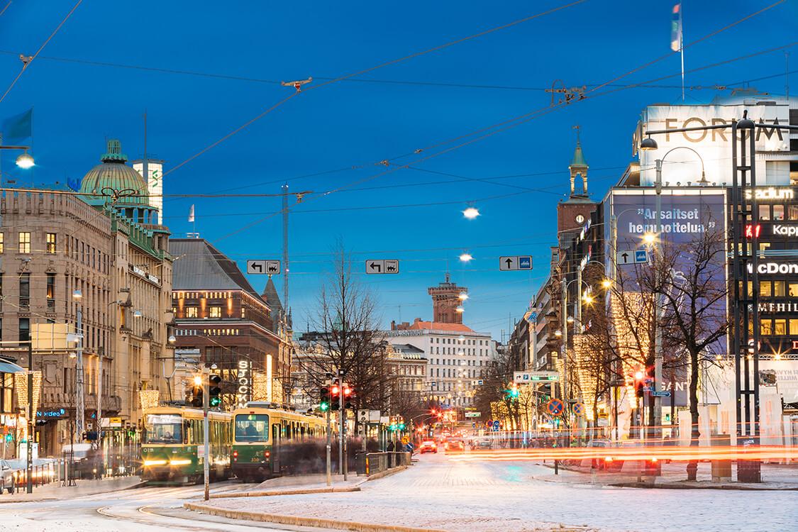 ヘルシンキの冬の街並み